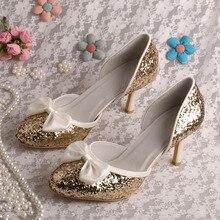 Wedopus MW218 G Litterทองรองเท้าแต่งงาน8เซนติเมตรแบรนด์ส้นเท้า