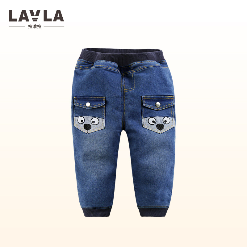 LAVLA Brand Kids Boys thick Casual Fleece Cartoon Pants Trousers for Spring Fall Autumn Sport fashion Jeans for 1-5Y Children european style 2016 new fashion jeans men print flowers slim trousers casual straight brand design skinny pants hot sales 0245