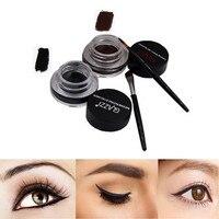 100% Brand New High Quality Eyeliner 1 Box With 2 PCS Eyeliner Gel Cream Brush Makeup Cosmetic Black Life Waterproof Eye