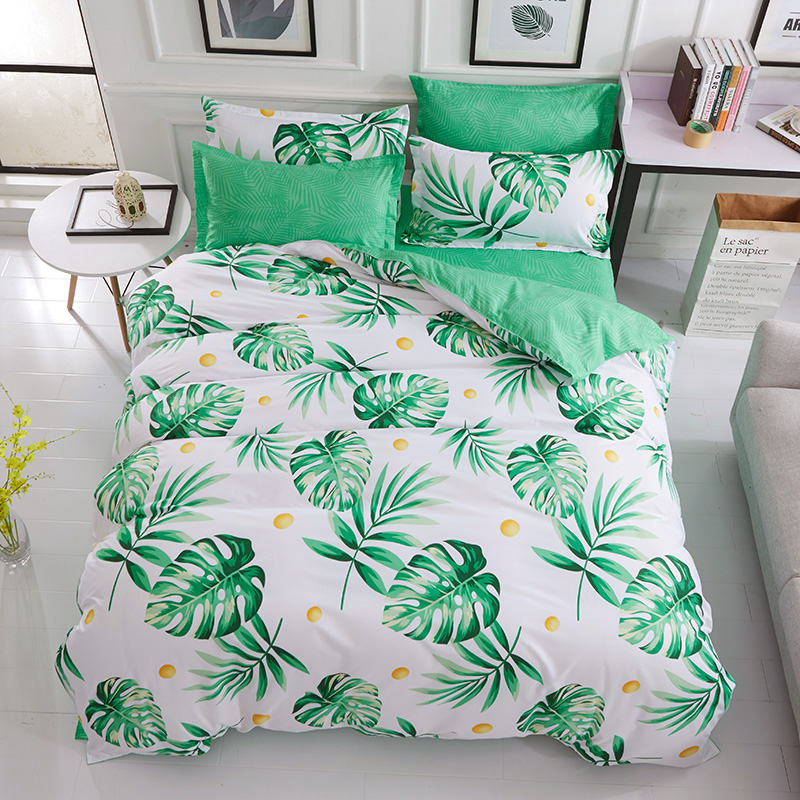Green Tropical Plant Leaves Print Duvet Cover Queen,Hawaiian Island Holiday Tropical Plant Bedding Sheet Twin No Comforte