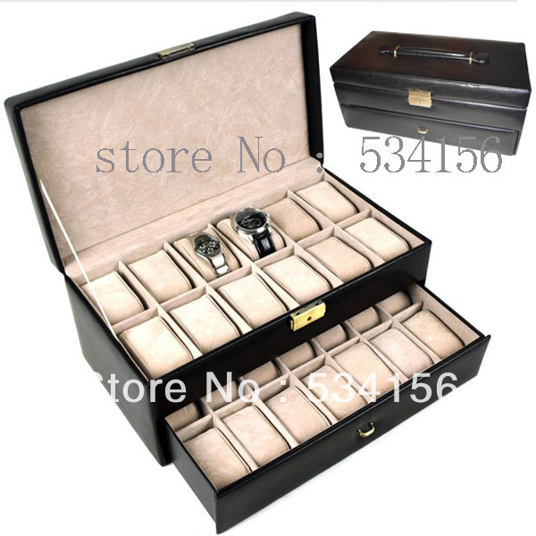 Free shipping black luxury watch box can fit into a 26 watches luxury leather watch boxes jewelry Display packaging gift box