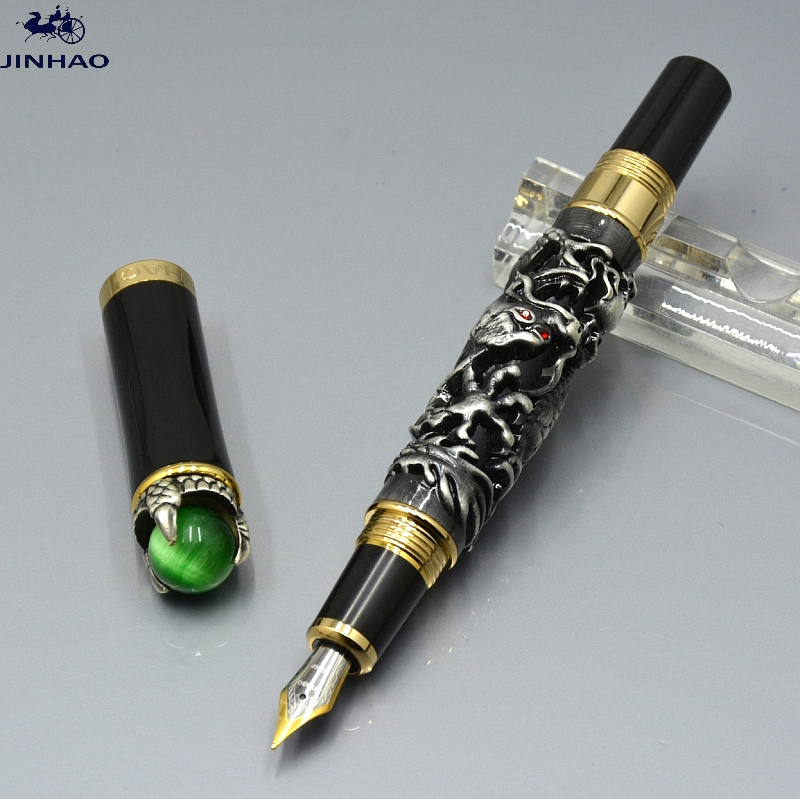 где купить JINHAO exquisite gray dragon King with Play Pearl Fountain pen school office stationery Luxury brand Writing Gift ink pens MB2 по лучшей цене