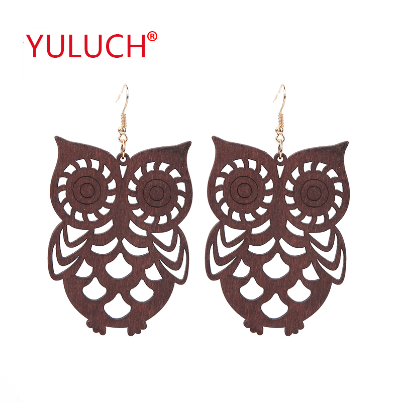 YULUCH 2018 Popular ethnic style natural wooden owl pendant earrings for fashion African women earrings jewelry gifts
