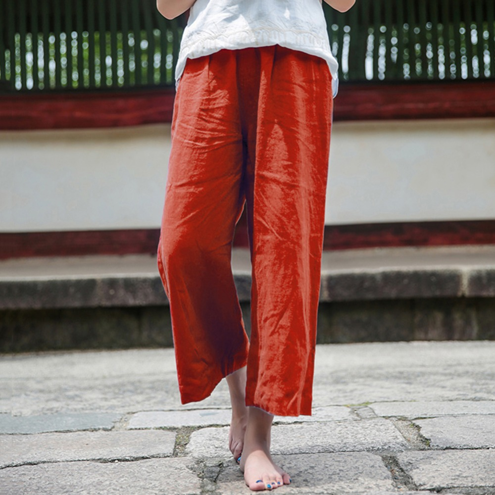 2019 New Summer Cotton Linen   Wide     Leg     Pants   Women Elastic Waist Solid Casual Loose Crop Trousers Plus Size 5XL Pantalon Femme