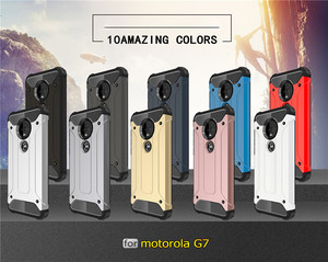 Image 2 - 10PCS מוקשח כיסוי עבור MOTO P40 הערה P30 כוח Z4 לשחק G7 בתוספת G6 E5 היברידי קשיח כפולה קשה שכבה שריון עמיד הלם טלפון מקרה