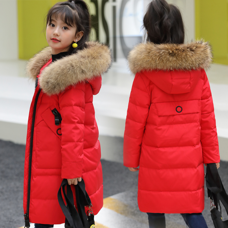 HSSCZL Girls Duck Down Jacket 2019 New Winter Children Thicken Hooded Natural Fur Collar Coat Outerwear