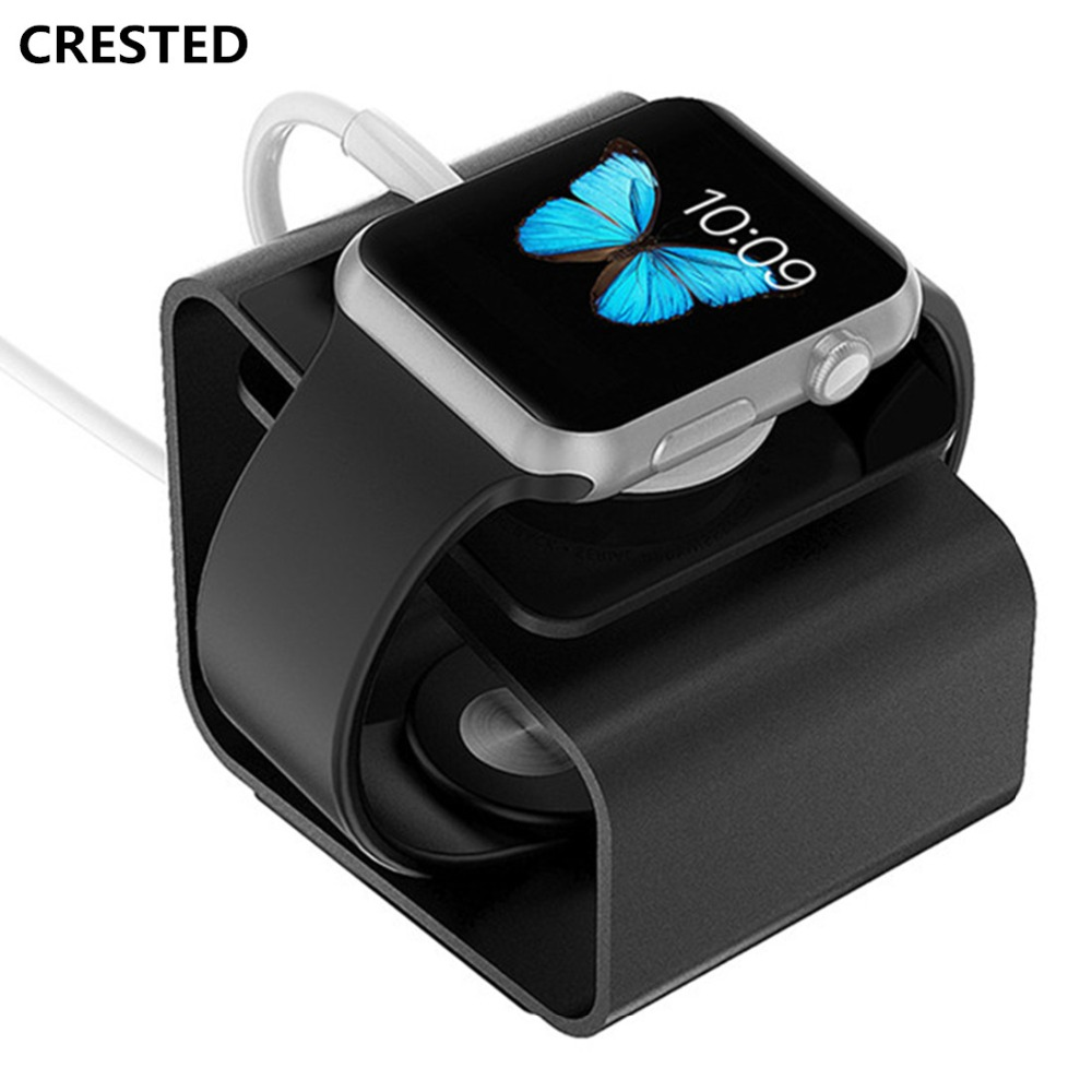 цена на CRESTED Portable Charging Stand For Apple Watch 42mm/38mm Charger Holder iWatch Dock Station stand Use Aluminum Alloy Mount