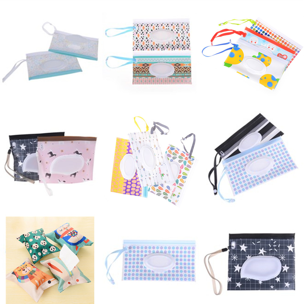 Baby Wipes Box Wet Wipe Box Cleaning Wipes Carrying Bag Eco-Friendly Clamshell Snap Strap Wipe Container Case