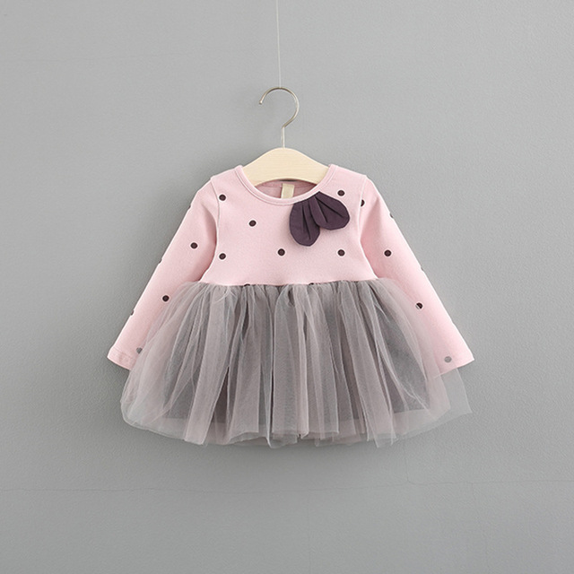 42521c2449bd8 0 3years Toddler Girls Dress Autumn Cotton Long Sleeve Infant Dress Polka  Dot Yars Princess Dress for Kids Fashion Kids Clothes-in Dresses from  Mother ...
