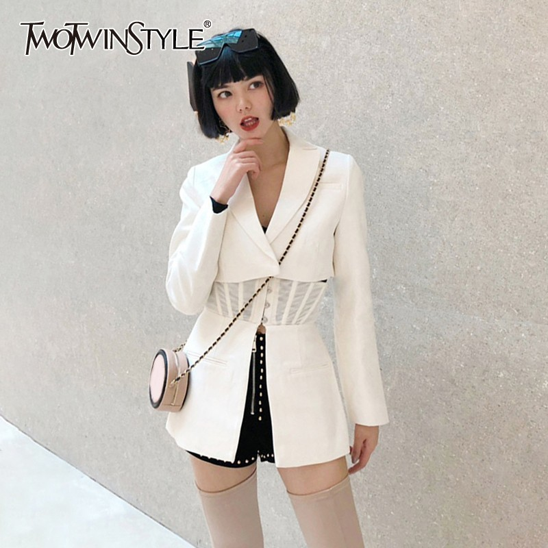 TWOTWINSTYLE Casual Solid Blazer Women Lapel Long Sleeve High Waist Slim Button Female Clothes Fashion 2019