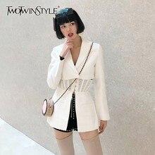 Twotwinstyle casual sólido blazer feminino lapela manga longa cintura alta botão magro roupas femininas moda 2020 primavera nova maré