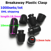 DHL 1000pcs Black DIY Breakaway Necklace S Buckle Plastic Closure For Chew Necklace Silicone Jewels Plastic
