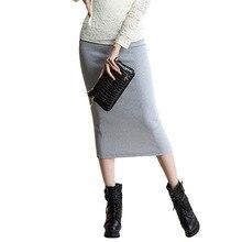 Autumn Winter Women Slim Split Long Skirts High Waist Knitted Cotton Pencil Skirts Super Elastic Maxi Skirts