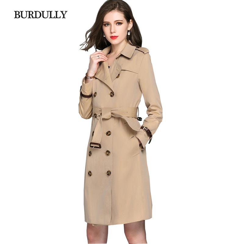 BURDULLY Double Breasted Long   Trench   Coat Para As Mulheres 2018 Big Size High Quality 100% Cotton Coat Windbreaker Casaco Femin