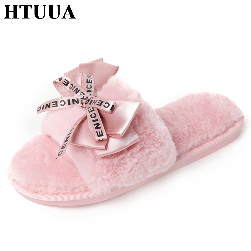 HTUUA 2018 New Fashion Bow Slippers Women Fur Plush Warm House Home Slippers Soft Bottom Slip-On Flat Slides Winter Shoes SX1401