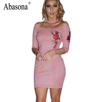 Abasona Rose Print Suede Women Dress Slash Neck With Bib Bodycon Dress Three Quarter Sleeve Party