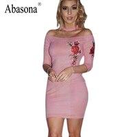 Abasona Rose Print Suede Women Dress Slash Neck With Bib Bodycon Dress Three Quarter Sleeve Party