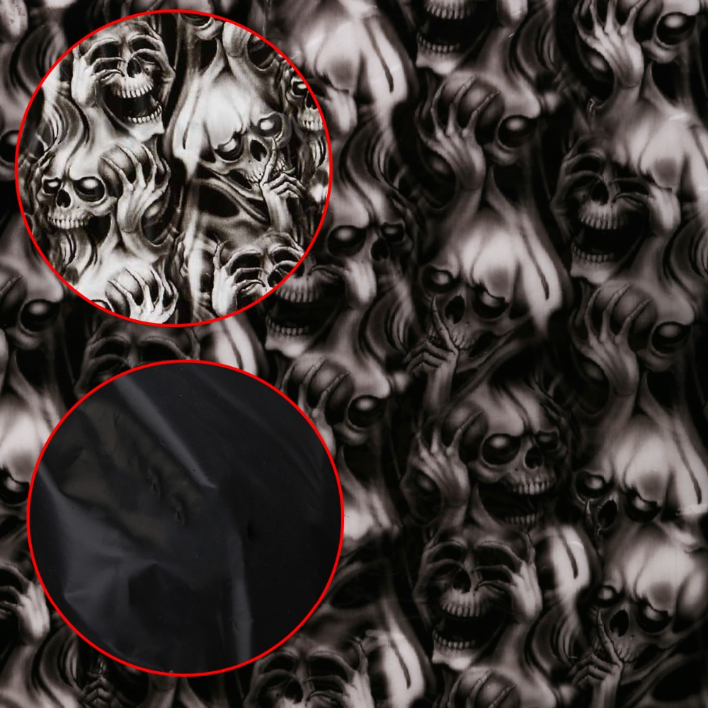 1Pc PVA Water Transfer Film Dipping Skulls Hydrographics Water Transfer Printing Skeleton Film 0.5 X 2m Skull Print Film
