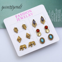 89fb374a3 2018 Vintage Gold Color Leaf Elephant Stud Earrings Set for Women Girls  Bohemian Indian Earings Fashion