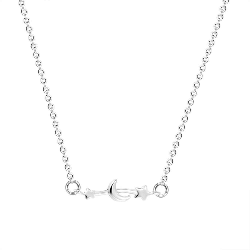 QIAMNI złoto srebro romantyczny księżyc gwiazda łańcuch naszyjniki wisiorki dla kobiet dziewczyny przyjaźń biżuteria urodziny prezent Kpop