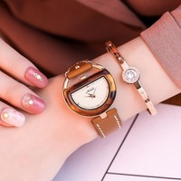 2018 Lady Woman Wrist Watches High Quality Ladies Watches Montre Femme Semicircular Quartz Watch Women Clock