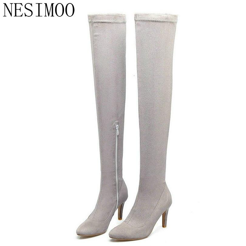 NESIMOO 2018 Fashion Women Over Knee High Boots All Match Westrn Style Zipper Design Thin High Heel Women Boots Size 33-43