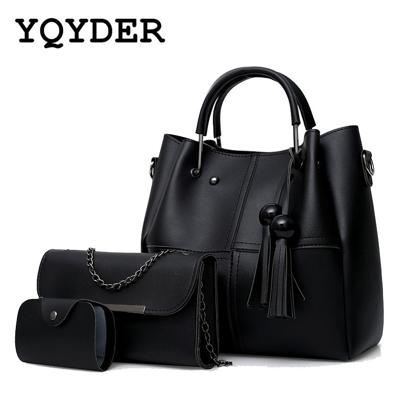 3Pcs/Sets Women Handbags Large Capacity Casual Tote Bag Tassels Chain Shoulder Crossbody Bag Ladies Clutch Composite Bags Purse miesati luxury 3 sets handbag women composite bag female large capacity tote bag fashion shoulder crossbody bag small purse