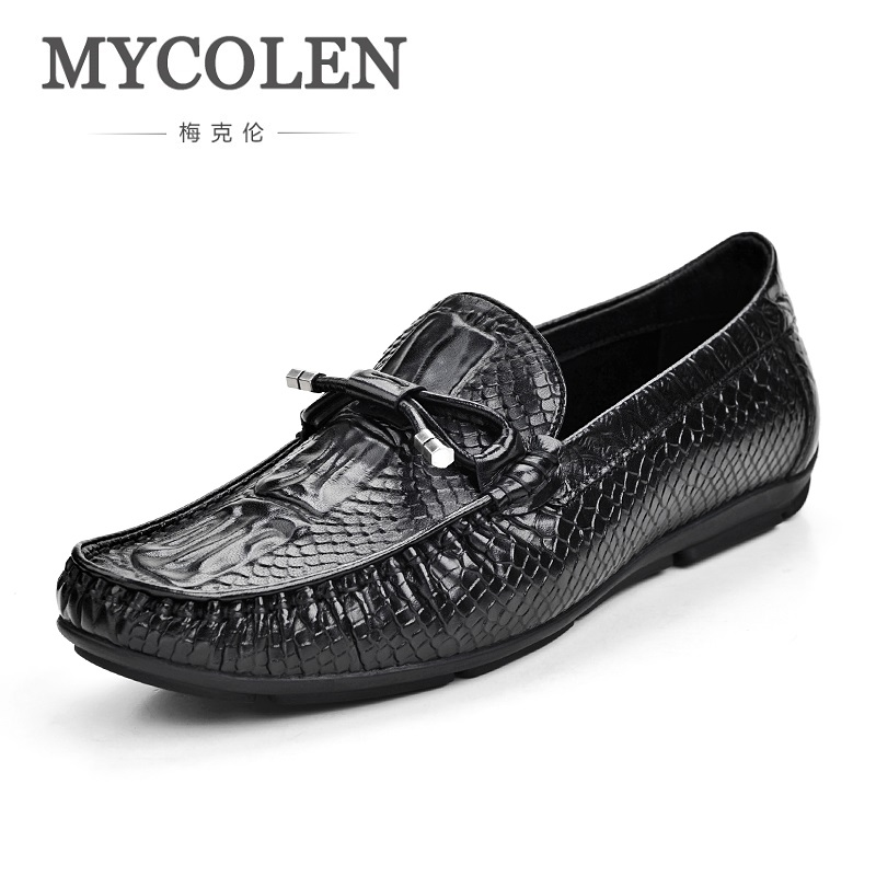 MYCOLEN The New Spring/Autumn Doug Shoes Male Leather Crocodile Embossed Breathable Shoes Minimalist Design Casual Shoes 2017 new spring imported leather men s shoes white eather shoes breathable sneaker fashion men casual shoes