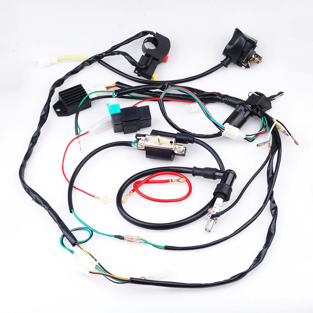 medium resolution of full electric kick start engine wiring harness loom light wire trail dirt bike in motorbike ingition from automobiles motorcycles on aliexpress com