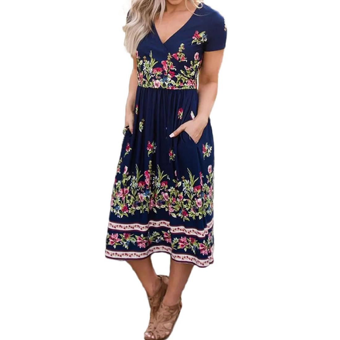 Женское Повседневное платье Летнее свободное с цветочным принтом плиссированный короткий рукав глубокий v образный сарафан ТРАПЕЦИЕВИДНОЕ пляжное платье с высокой талией Сарафан с карманом