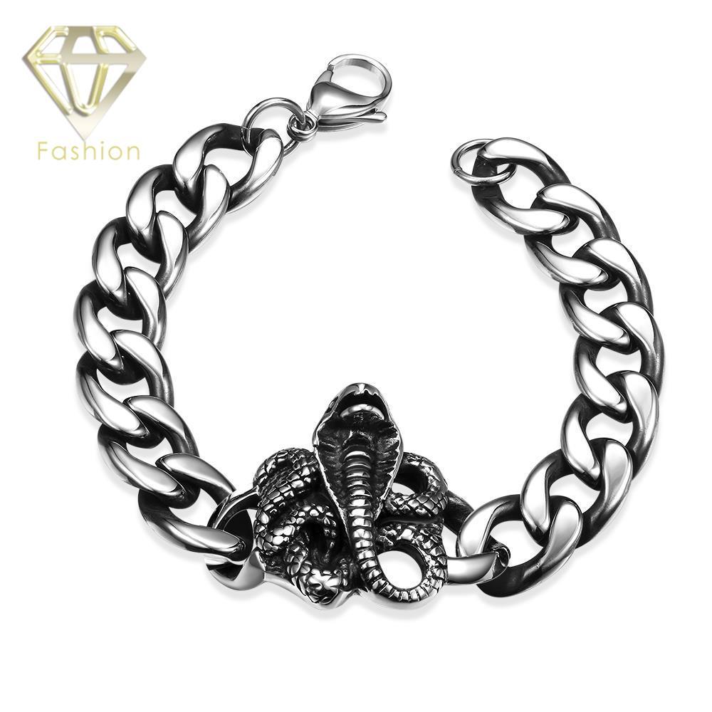 Rock Style 316L Sstainless Steel Bracelet Lobster Link Chain with Snake Pattern Bracelet Jewelry for Men