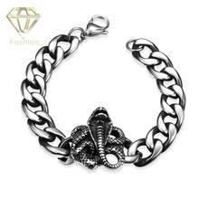 Rock Style 316L Sstainless Steel Bracelet Lobster Link Chain with Snake Pattern Bracelet Jewelry for Men Boys Christmas Gift