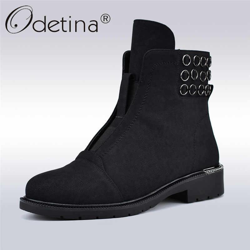 Odetina Sonbahar Kış Yeni Moda metal halka yarım çizmeler Kadınlar Üzerinde Kayma Elastik Çizmeler Yumuşak Düşük Topuklu Yuvarlak Ayak Kadın rahat ayakkabılar