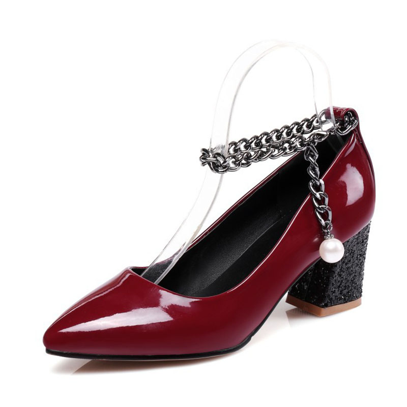 Size32-48 2018 Classic Women Pumps Fashion Pointed Toe Square Heel Women's shoes Shallow Office & Career High-heeled shoes [328] women autumn fashion shoes pu skin shallow low heeled shoes with high heel pointed shoes for ol lss 888