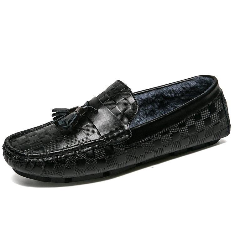 Haricots Hiver Célèbre Cuir En Designer Chaussures Mocassin Homme Marque Plus Paresseux Hommes Faible Noir Casual De Velours Chaud wr6wxqSpB
