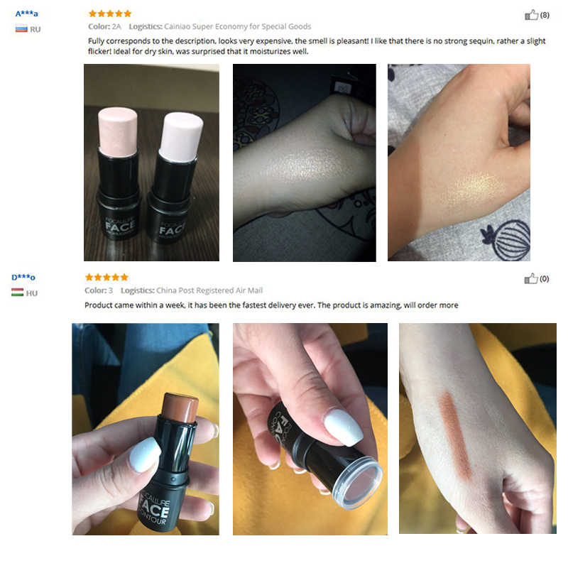 Focallure 4 Warna Cream Highlighter Stick Mencerahkan Wajah Riasan Kosmetik Mudah Dipakai Tahan Lama Bronzer Pena