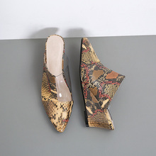Big Size 40 Transparent snakeskin Ladies Slippers Summer Slides Wedges Sandals Heels sandale mules femme 2019 shoes Woman