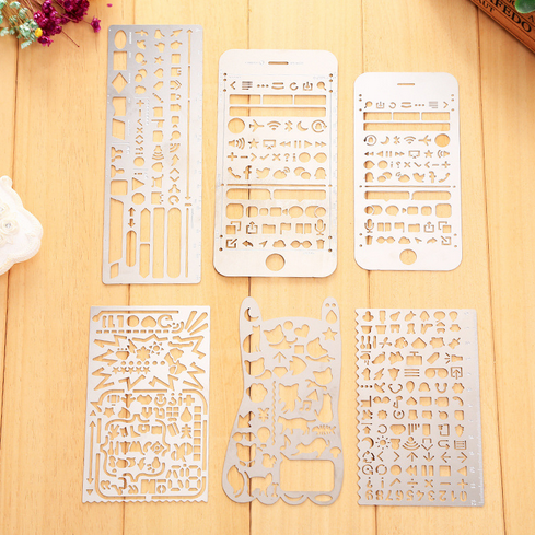 Vintage Portable Stainless Steel Stationery Stencils Hollow Ruler ...