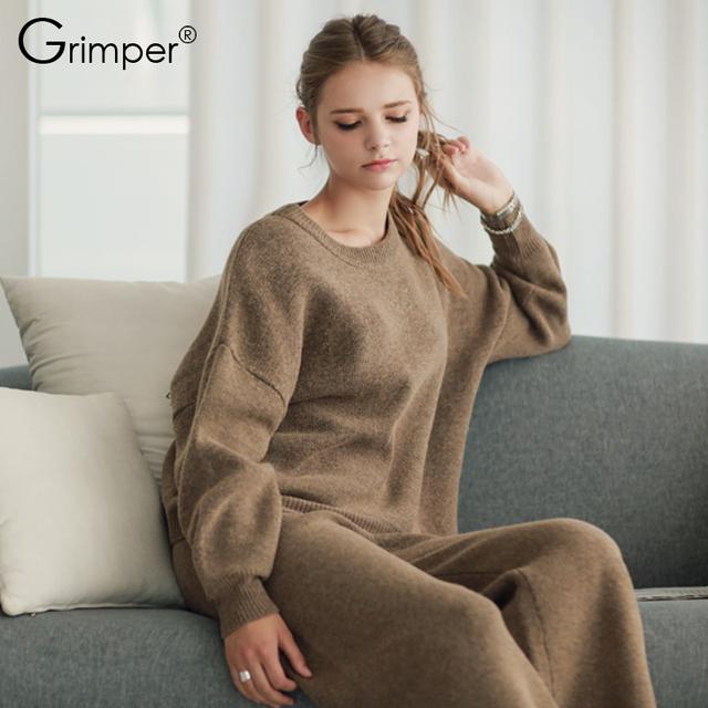 Treino Top Fashion Completa Nenhum Europeu Novo Inverno 2016 Senhoras Camisola de Malha + Wide-legged Calças Two-piece Ternos da moda