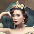 2 pieces crown + earrings the bride adorn article color baroque large queen beauty hair hoop gold Jewelry Sets girlfriend gift