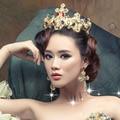 2 unidades corona + pendientes de la novia adorna el artículo en color barroca gran reina de belleza del pelo del aro del oro set de joyas novia regalo