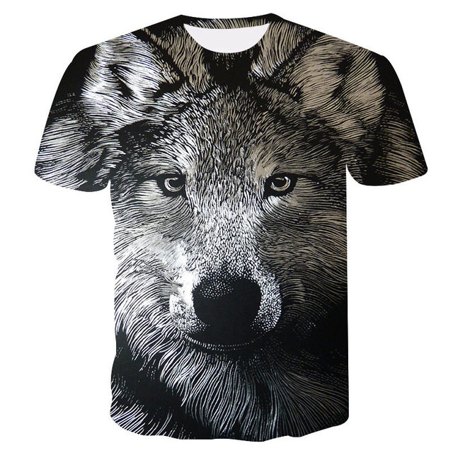2019 New Summer Brand 3D Wolf head T-shirt man round collar short sleeve T-shirt men fashion t shirt short sleeves dropshipping 2