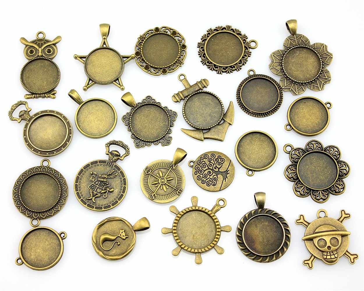 100Gram Mix Designs 20mm Inner Size Antique Silver & Antique Bronze Cameo Cabochon Base Setting