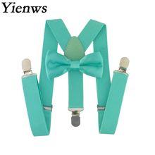 Yienws для маленьких детей подтяжки галстук бабочка комплект 3 клип эластичный ремешок бабочкой подтяжки обувь девочек свадебные галстук бабочк