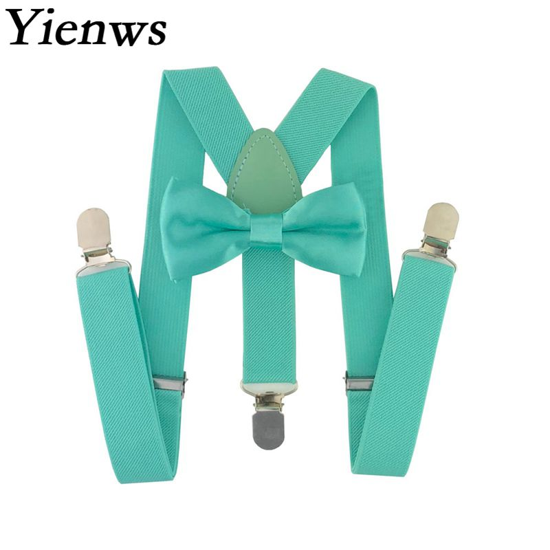 Yienws Baby Kids Suspenders Bow Tie Set 3 Clip Elastic Strap Bowtie Braces For Girls Wedding Bow Tie Suspenders Child