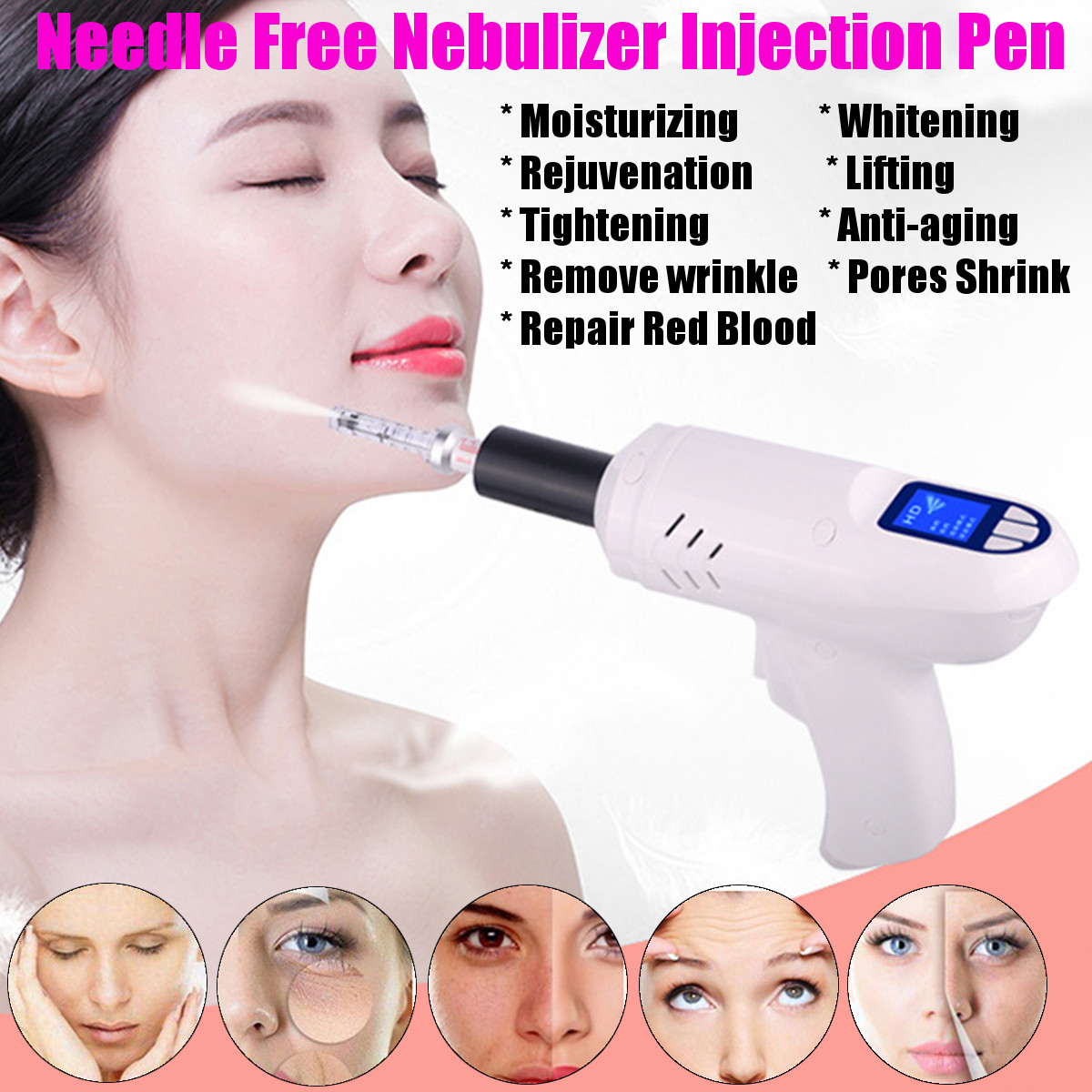 Electric Needle Free Nebulizer Injection Pen Wrinkle Removal Anti-aging Face Cleaner Skin Massager Hyaluronic Acid Micro Machine
