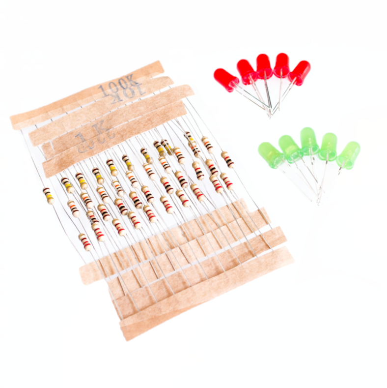 Active Components Hearty 50pcs 1k 10k 100k 220 Ohm 1/4w Metal Film Resistor And Led Kit For Raspberry Pi Arduin Comfortable And Easy To Wear