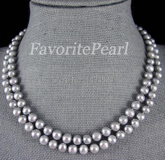 Gray Pearl Necklace 35.5 Inches 7-8mm Gray Color Freshwater Pearl Long Necklace Wholesale Jewelry Free Shipping
