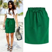 Летняя плотная плиссированная юбка для женщин, зеленая, черная, серая, зеленая, офисная, для леди, галстук-бабочка, пояс, юбка-карандаш, для девушек, эластичная талия, юбки для мальчиков