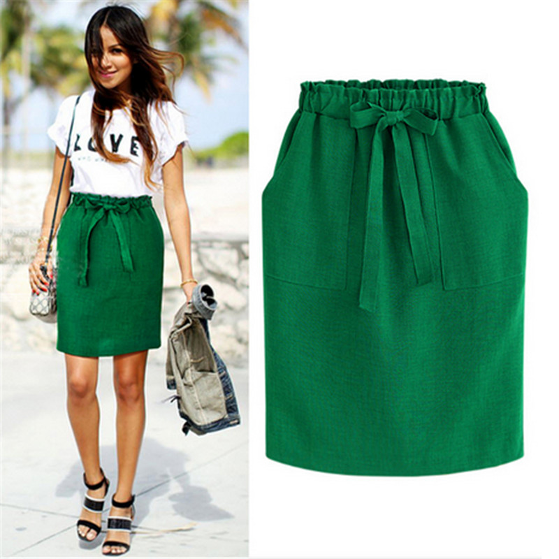 Summer Solid Pleated Skirt Women Green Black Gray Green Office Lady Bow Tie Sashes Pencil Skirt Lady Elastic Waist Boycon Skirts